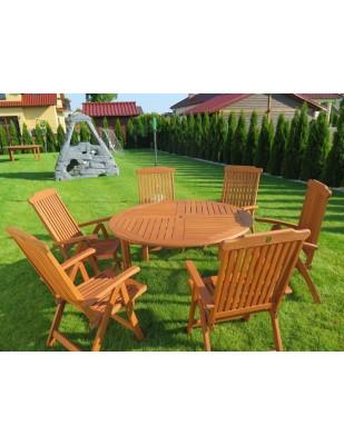 Zestaw ogrodowy (Stół Cocos 140cm + zestaw 6 krzeseł 5-pozycyjnych do wyboru)