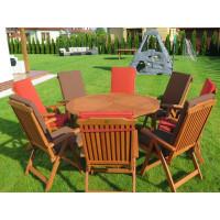 Zestaw ogrodowy (Stół Cocos 140cm + zestaw 8 krzeseł 5-pozycyjnych do wyboru + 8 poduch do wyboru)