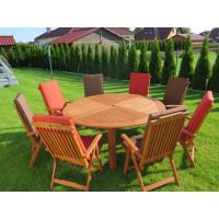 Zestaw ogrodowy (Stół Cocos 180cm + zestaw 10 krzeseł 5-pozycyjnych do wyboru + 10 poduch do wyboru)