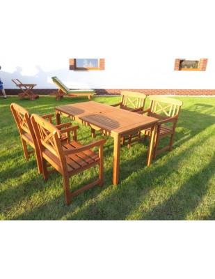 Zestaw ogrodowy (4 fotele Kingsman + stół Dover + 4 poduchy)