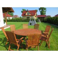 zestaw ogrodowy drewniany (Stół Cocos 180cm + zestaw 8 krzeseł 5-pozycyjnych do wyboru)