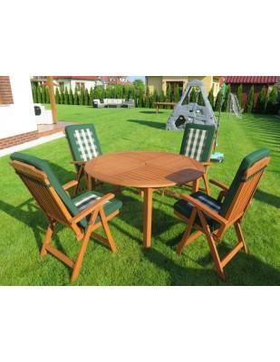 Zestaw ogrodowy (Stół Cocos 140cm + zestaw 4 krzeseł 5-pozycyjnych do wyboru + 4 poduchy do wyboru)