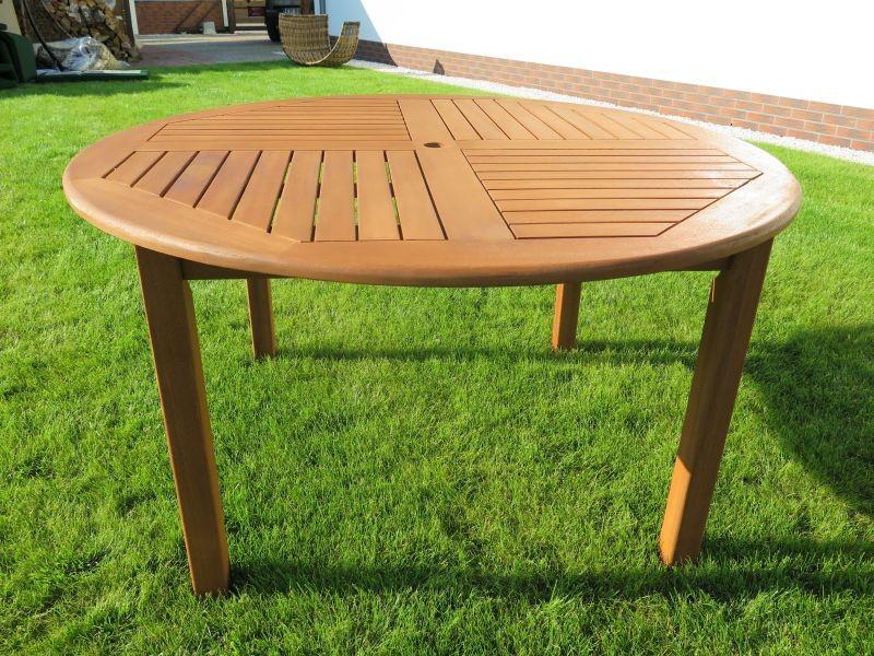 stół ogrodowy drewniany okrągły 140cm