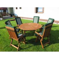 zestaw ogrodowy drewniany (Stół Cocos 140cm + zestaw 6 krzeseł 5-pozycyjnych do wyboru + 6 poduch do wyboru)