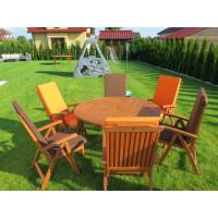 Zestaw ogrodowy (Stół Cocos 140cm + zestaw 6 krzeseł 5-pozycyjnych do wyboru + 6 poduch do wyboru)