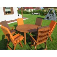 meble ogrodowe (Stół Cocos 140cm + zestaw 6 krzeseł 5-pozycyjnych do wyboru + 6 poduch do wyboru)