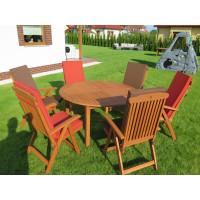 meble do ogrodu drewniane (Stół Cocos 140cm + zestaw 6 krzeseł 5-pozycyjnych do wyboru + 6 poduch do wyboru)