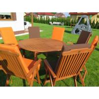 meble ogrodowe drewniane (Stół Cocos 140cm + zestaw 6 krzeseł 5-pozycyjnych do wyboru + 6 poduch do wyboru)