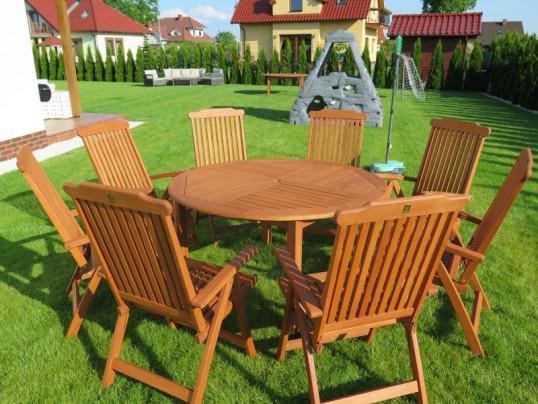 Zestaw ogrodowy (Stół Cocos 140cm + zestaw 8 krzeseł 5-pozycyjnych do wyboru)