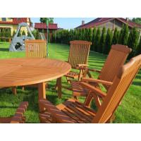 meble ogrodowe drewniane (Stół Cocos 140cm + zestaw 8 krzeseł 5-pozycyjnych do wyboru)