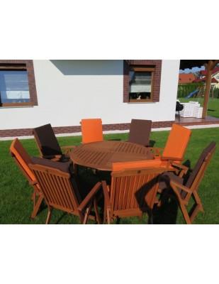 Zestaw ogrodowy (Stół Cocos 140cm + zestaw 8 krzeseł 5-pozycyjnych do wyboru + 6 poduch do wyboru)