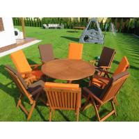 komplet ogrodowy drewniany (Stół Cocos 140cm + zestaw 8 krzeseł 5-pozycyjnych do wyboru + 6 poduch do wyboru)