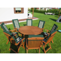 meble do ogrodu drewniane (Stół Cocos 140cm + zestaw 8 krzeseł 5-pozycyjnych do wyboru + 6 poduch do wyboru)