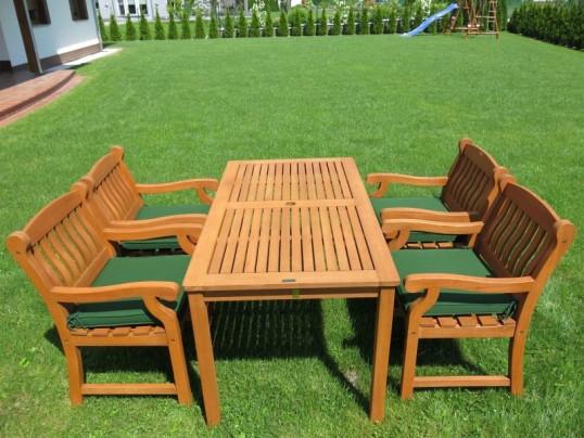 Zestaw ogrodowy (4 fotele Edinburgh + stół Dover + poduchy PREMIUM)