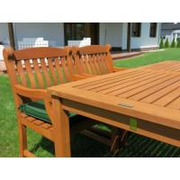 komplet ogrodowy drewniany (4 fotele Edinburgh + stół Dover + poduchy PREMIUM)