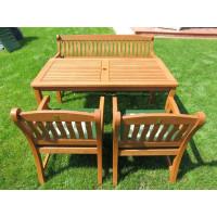 zestaw ogrodowy drewniany (4 fotele Edinburgh + stół Dover + 1 ławka + poduchy PREMIUM)