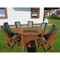 meble ogrodowe stół krzesła (Stół Cocos 180cm + zestaw 8 krzeseł 5-pozycyjnych do wyboru + 8 poduch do wyboru)
