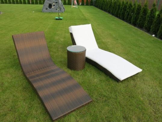 Leżanki ogrodowe (2 szt) ze stolikiem - Dublin