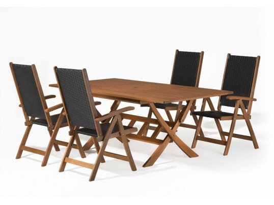 Zestaw mebli ogrodowych Bradford (160 x 90) + 4 krzesła Nottingham