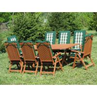 komplet ogrodowy drewniany Bradford 100x200 (8 krzeseł Baltic + zielone poduchy)