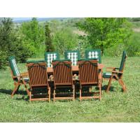 meble ogrodowe drewniane Bradford 100x200 (8 krzeseł Baltic + zielone poduchy)