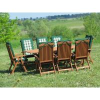 zestaw ogrodowy drewniany Bradford 100x200 (8 krzeseł Baltic + zielone poduchy)