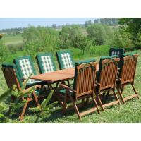 meble do ogrodu drewniane Bradford 100x200 (8 krzeseł Baltic + zielone poduchy)