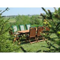 meble ogrodowe stół krzesła Bradford 100x200 (8 krzeseł Baltic + zielone poduchy)