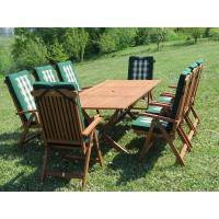 meble ogrodowe Bradford 100x200 (8 krzeseł Baltic + zielone poduchy)