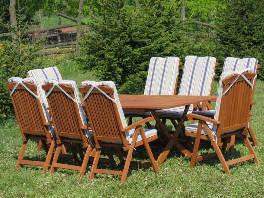 Zestaw ogrodowy Bradford 100x200 (8 krzeseł Baltic + poduchy w paski)