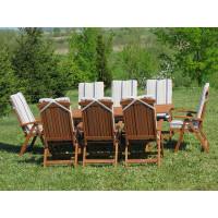 zestaw ogrodowy drewniany (8 krzeseł Baltic + poduchy w paski)