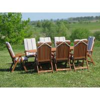komplet ogrodowy drewniany Bradford 100x200 (8 krzeseł Baltic + poduchy w paski)