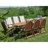 meble ogrodowe drewniane Bradford 100x200 (8 krzeseł Baltic + poduchy w paski)