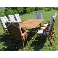 meble do ogrodu drewniane Bradford 100x200 (8 krzeseł Baltic + poduchy w paski)