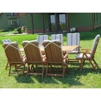 meble ogrodowe stół krzesła Bradford 100x200 (8 krzeseł Baltic + poduchy w paski)