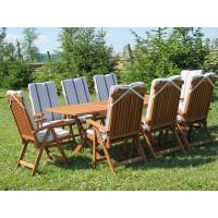 meble ogrodowe Bradford 100x200 (8 krzeseł Baltic + poduchy w paski)