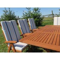 Zestaw mebli ogrodowych Bradford (200 x 100) z 8 krzesłami Baltic + komplet poduch Premium w pasy
