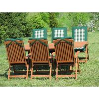 komplet ogrodowy drewniany Bradford 100x200 (6 krzeseł Baltic + poduchy PREMIUM