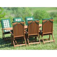 meble ogrodowe drewniane Bradford 100x200 (6 krzeseł Baltic + poduchy PREMIUM