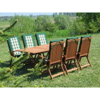 meble do ogrodu drewniane Bradford 100x200 (6 krzeseł Baltic + poduchy PREMIUM