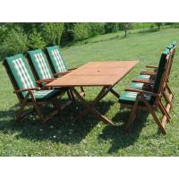 meble ogrodowe stół krzesła Bradford 100x200 (6 krzeseł Baltic + poduchy PREMIUM