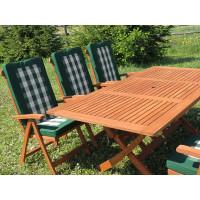 zestaw ogrodowy drewniany Bradford 100x200 (6 krzeseł Baltic + poduchy PREMIUM