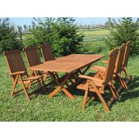 meble ogrodowe drewniane Bradford 100x200 (6 krzeseł Baltic)