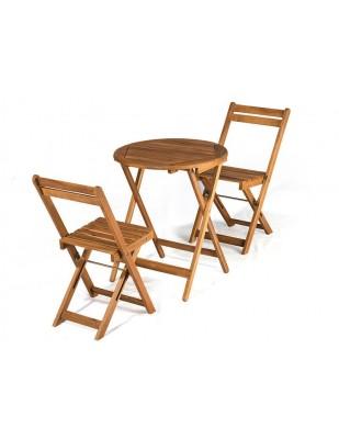 Zestaw mebli ogrodowych Bistro stolik o średnicy 60cm z 2 krzesłami składanymi
