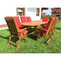 zestaw ogrodowy drewniany (8 krzesła Cardiff+ stół Toledo + 8 poduch)