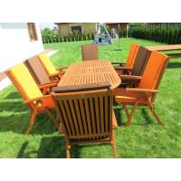 meble do ogrodu drewniane (8 krzesła Cardiff+ stół Toledo + 8 poduch)