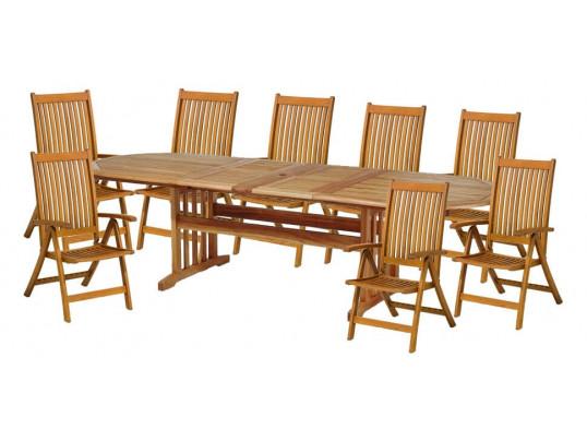 Zestaw mebli ogrodowych Stockholm (210-250-290 x 100) z 8 krzesłami do wyboru (Baltic, Wellington, Cardiff lub Calgary)