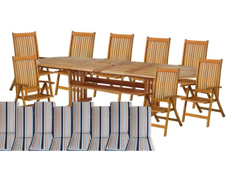 Zestaw ogrodowy (8 krzeseł Cardiff + stół Stockholm + 8 poduch)