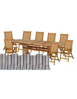 Zestaw mebli ogrodowych Stockholm (210-250-290 x 100) z 8 krzesłami do wyboru + komplet poduch