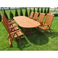 meble ogrodowe drewniane (8 krzeseł Cardiff + stół Stockholm + 8 poduch)